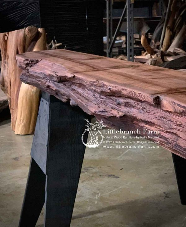 Thick live edge wood slab.
