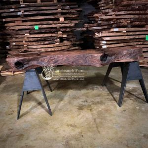 Redwood driftwood fireplace mantel