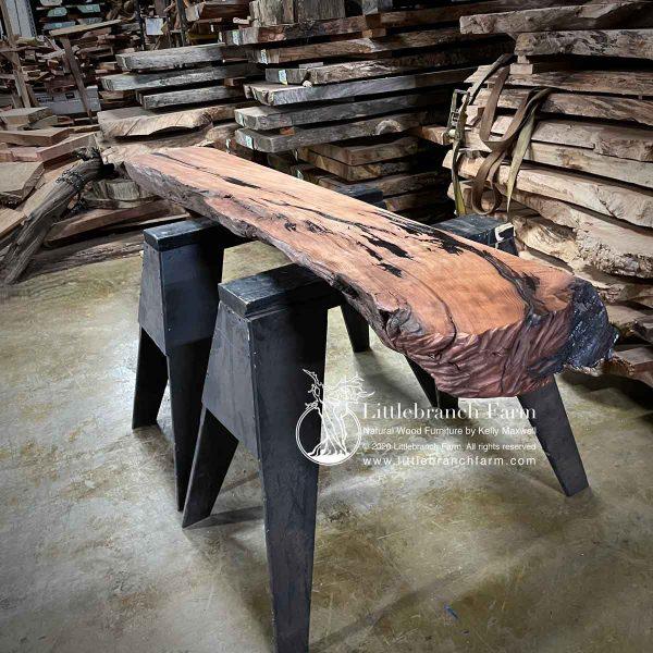 Redwood fireplace mantel