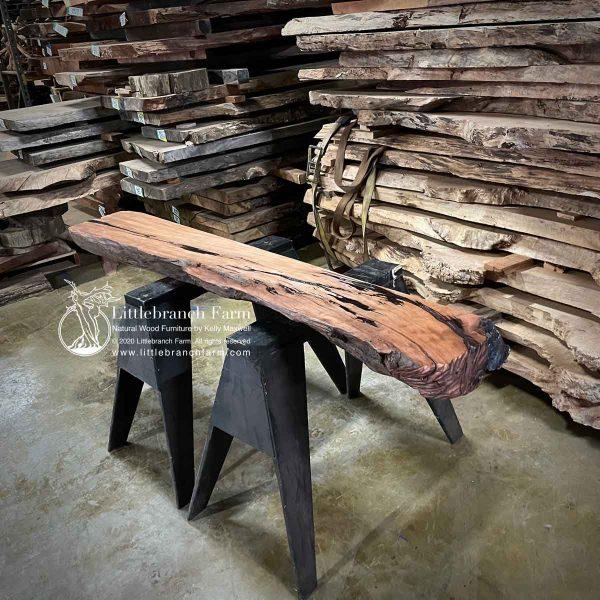 Redwood wood slab mantel