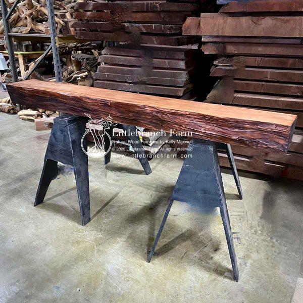 Redwood live edge wood mantel