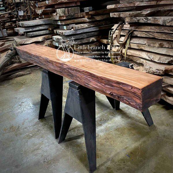 Live edge rustic fireplace mantel.