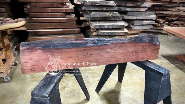 Natural raw edge redwood slab.