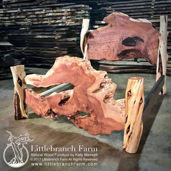 wood slab rustic bed