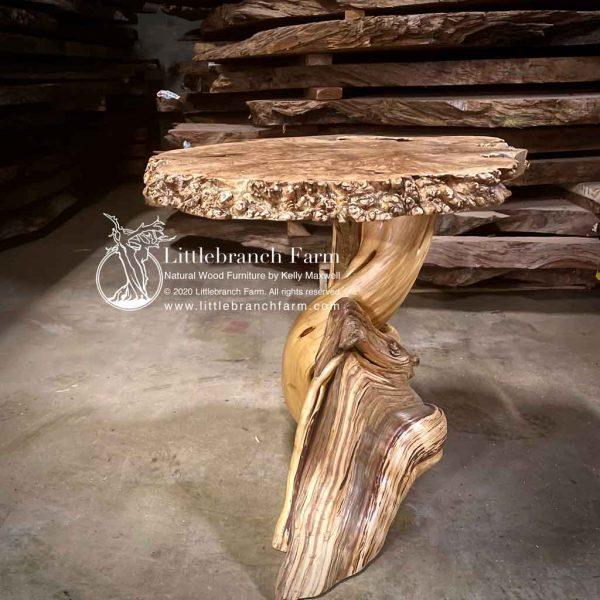 Rustic table with juniper log base