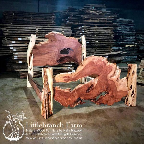 Natural wood bed