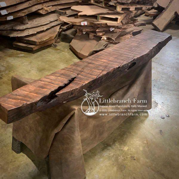 Curly redwood live edge rustic mantel