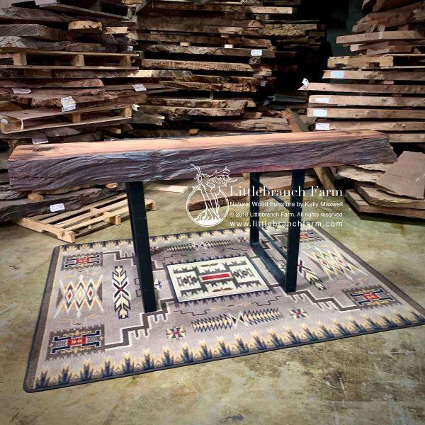 Raw edge fireplace mantel