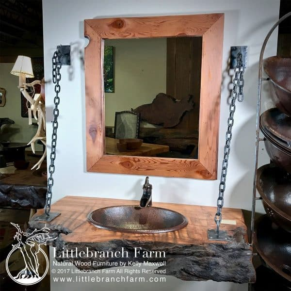 Wood slab rustic vanity