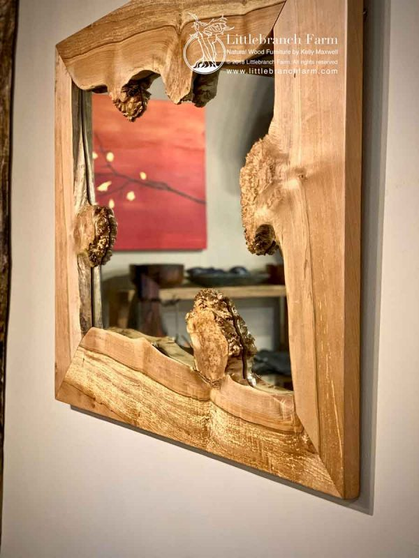 Maple wood slab mirror