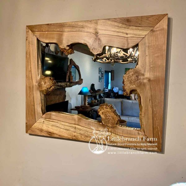 Maple wood slab mirror with burl.