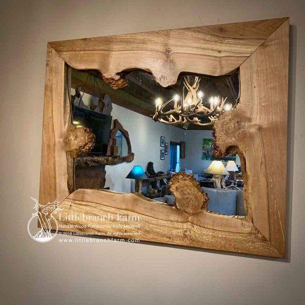 maple burl rustic mirror