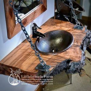 Wood slab rustic bathroom vanity