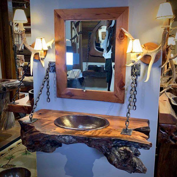 Hanging wood slab bathroom vanity