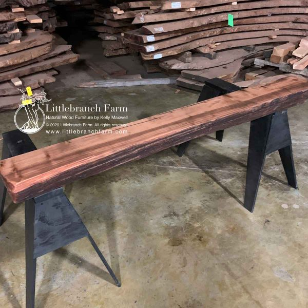 live edge wood beam mantel