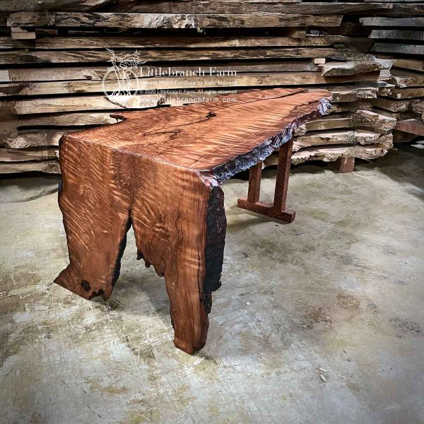Curly Redwood wood slab office desk