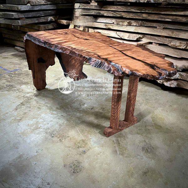 Waterfall wood slab office desk