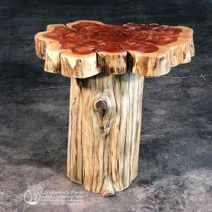 Eastern red cedar rustic log end table
