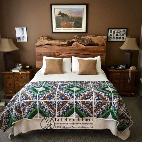 natural wood platform bed room scene