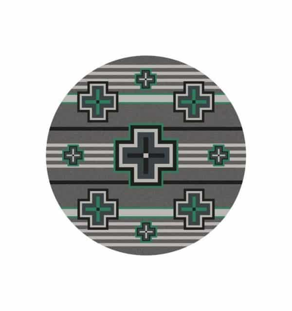 Teal green and gray round rug