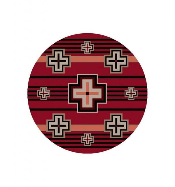 Red round rug