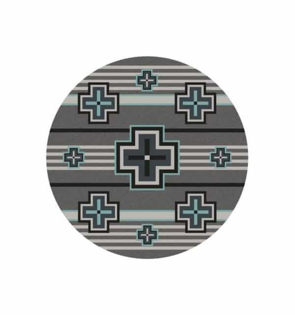 Aqua crosses on gray round rug