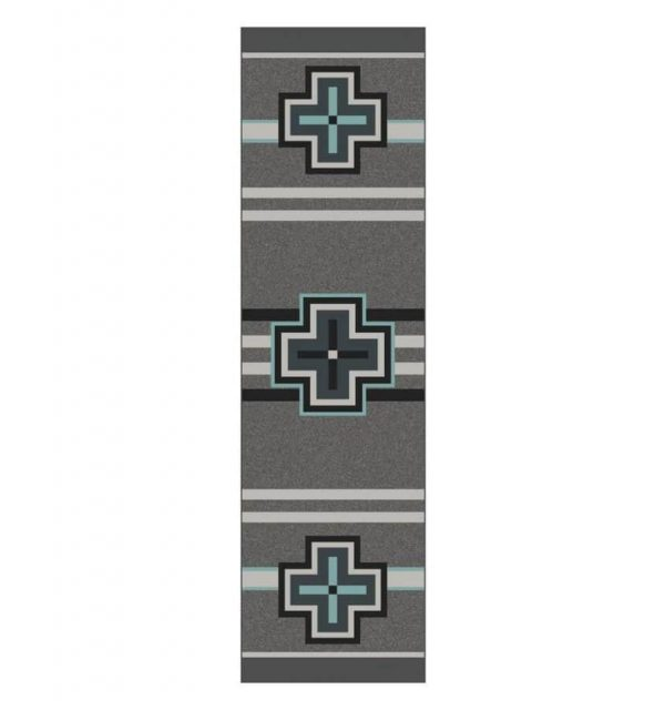 gray and turquoise cross rug