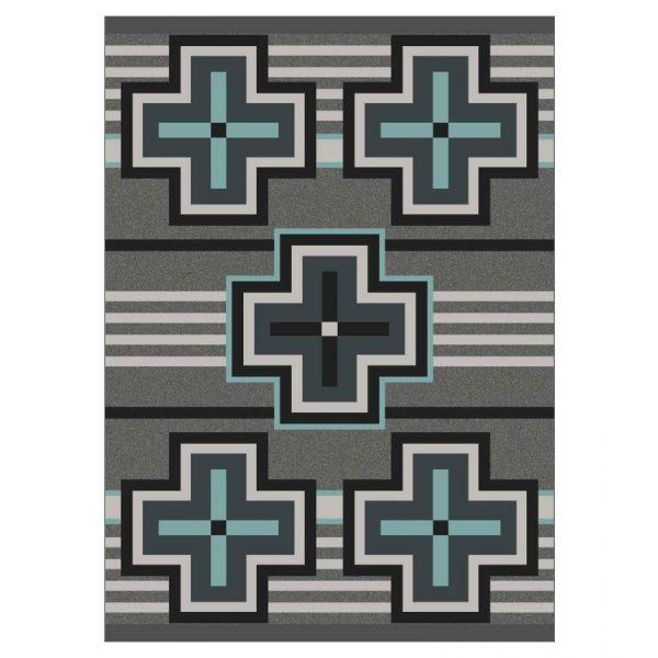 aqua crosses on gray
