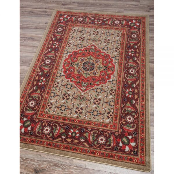 brandy wine red and tan with floral design rug