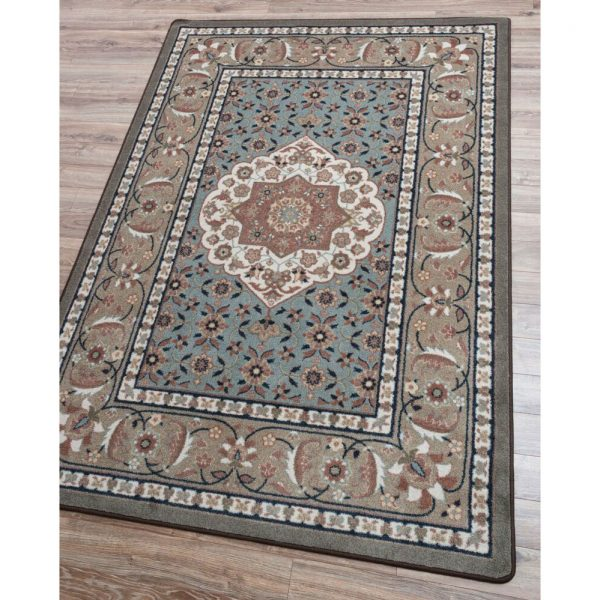 Teal and gray natural rug color