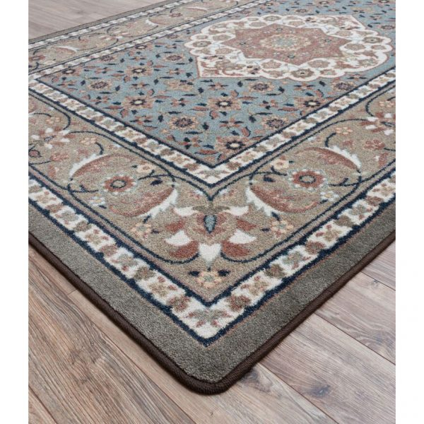 Shades of gray and floral rug