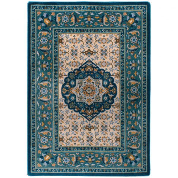 Beautiful floral designs on teal rug