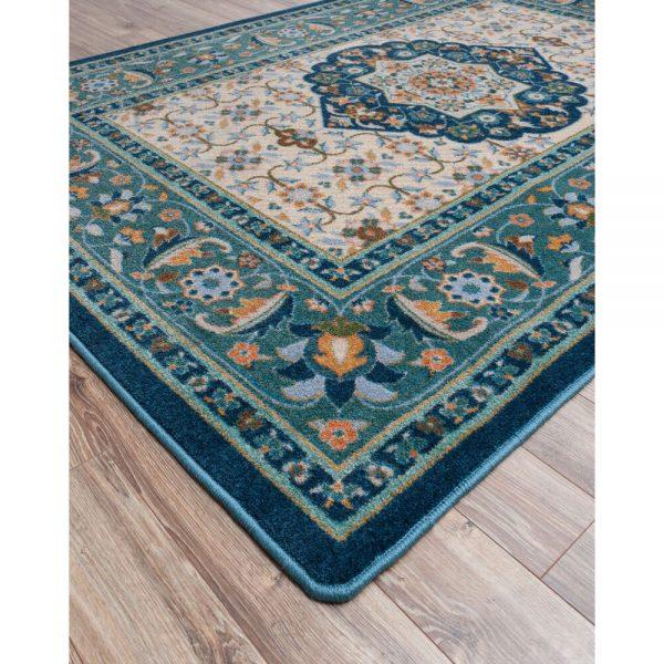 Teal color area rug
