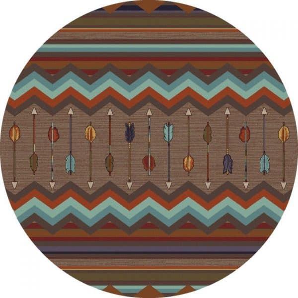Round rustic modern rug