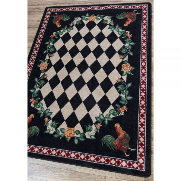 Rooster black and white checker rug
