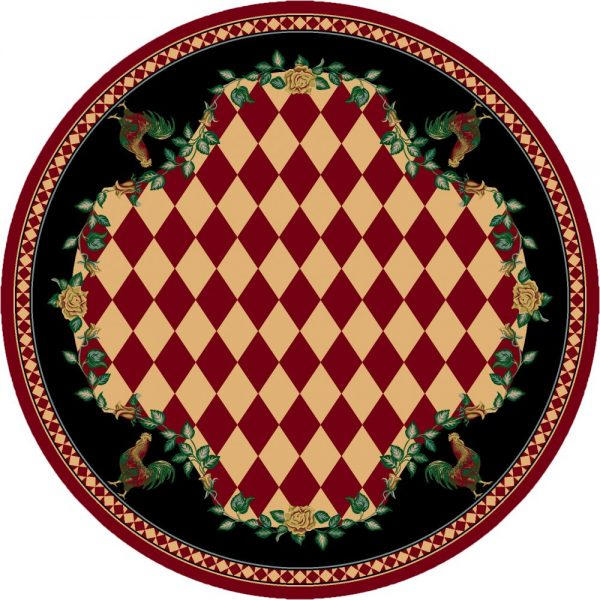 Black and red farm rooster rug