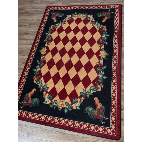 Checker print red rooster rug