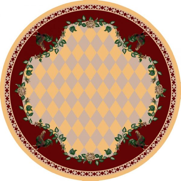 Yellow and red farm rug
