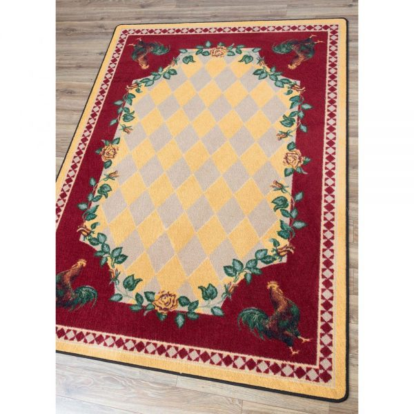 Farmhouse rug design with roosters