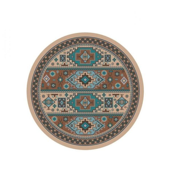 Teal round rug