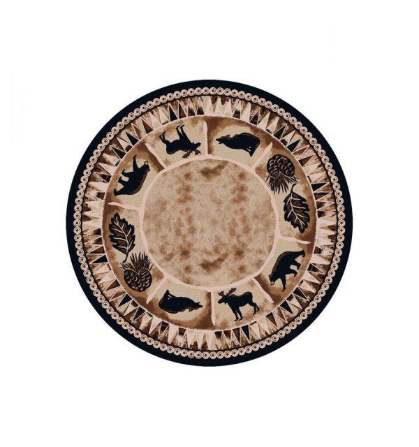 Round wildlife rug