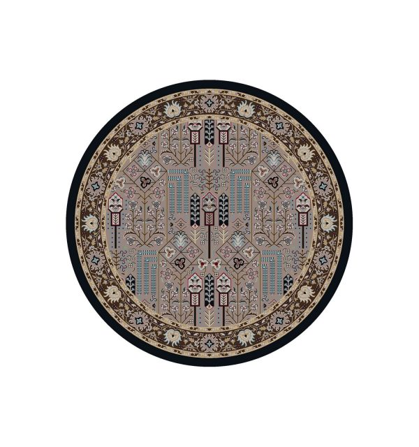 Round rug in pastel grays a teal