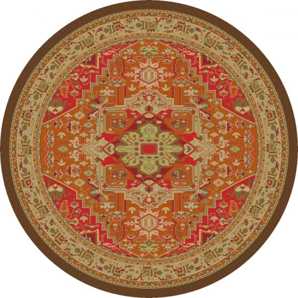 Round rug in glowing color