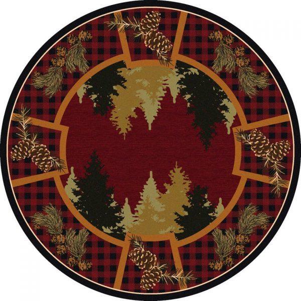 pine tree round rug
