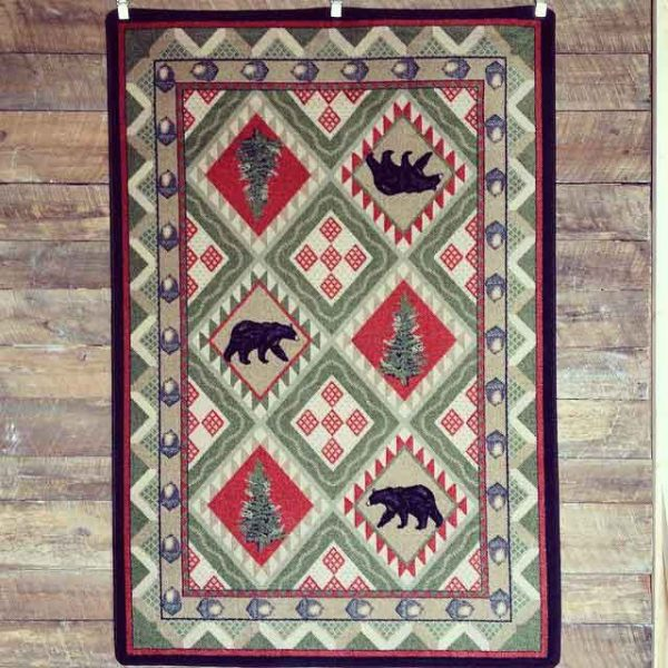 Quilted pine forest cabin rug