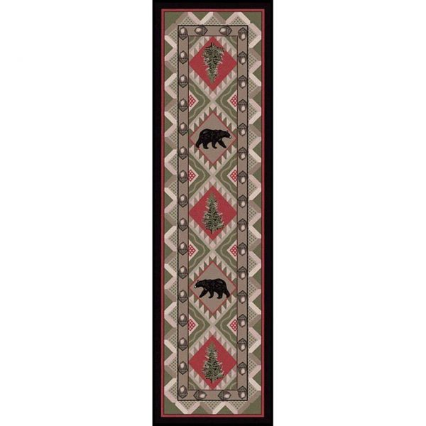 Black bear gray area rug