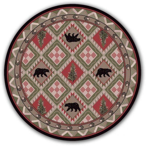 Round grayish area rug