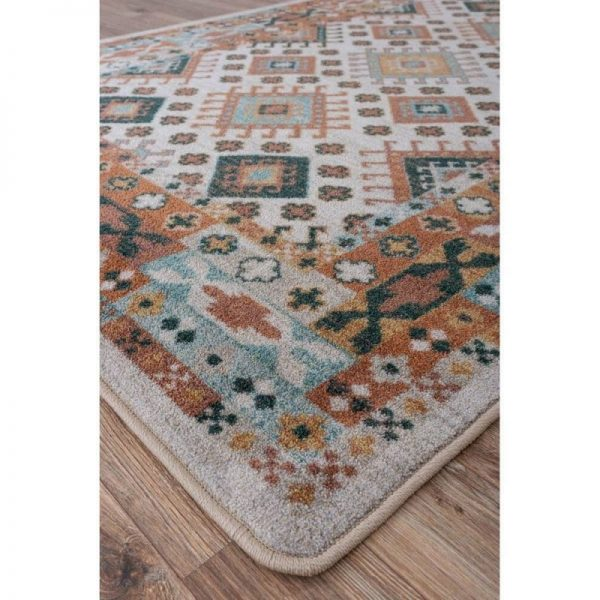 Patch work teal and brown rug