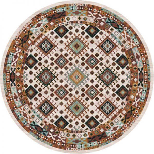 Patchwork brown area rug