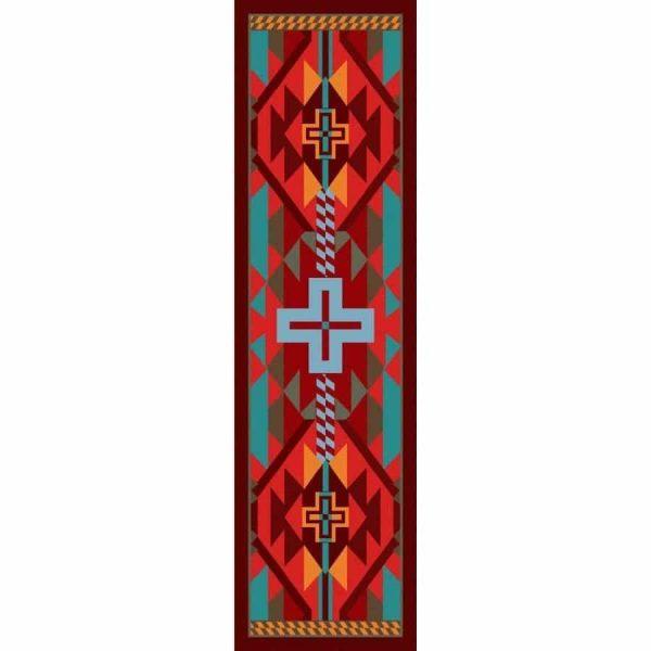 Southwestern print runner rug.